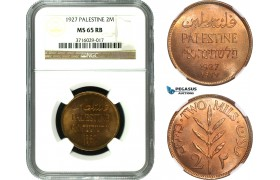 AC574, Palestine, 2 Mils 1927, London, NGC MS65RB