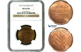 AC574, Palestine, 2 Mils 1927, London, NGC MS65RB
