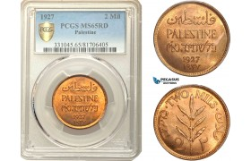 AC575, Palestine, 2 Mils 1927, London, PCGS MS65RD