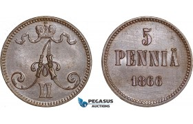 AC578, Finland (under Russia) Alexander II, 5 Penniä 1866, Cleaned UNC