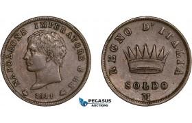 AC579, Italy, Napoleon, Soldo 1811-M, Milan, VF-XF
