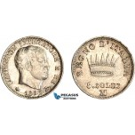 AC580, Italy, Napoleon, 5 Soldi 1812-M, Milan, Silver, Cleaned aUNC