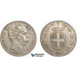 AC583, Italy, Umberto, 5 Lire 1879-R, Rome, Silver, VF-XF