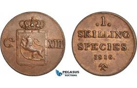 AC584, Norway, Karl XIII, 1 Skilling 1816, Kongsberg, Nice AU