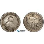 AC589, Russia, Elisabeth, Polupoltinnik 1751 ММД-А, Moscow, Silver, VF (Flaws)