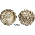 AC590, Russia, Catherine II, Grivennik 1769 СПБ, St. Petersburg, Silver, VF