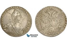 AC592, Russia, Catherine II, 20 Kopeks 1768 СПБ, St. Petersburg, Silver, VF+