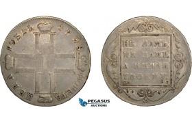 AC595, Russia, Paul I, Polupoltinnik 1798 СМ-МБ, St. Peterburg, Silver, Toned VF