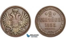 AC596, Russia, Nicholas I, 2 Kopeks 1855-BM, Warsaw, VF