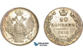 AC600, Russia, Nicholas I, 20 Kopeks 1838 СПБ-НГ, St. Petersburg, Silver, Lustrous AU