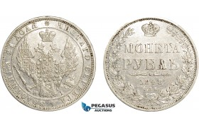 AC604, Russia, Nicholas I, Rouble 1848 СПБ-HI, St. Petersburg, Silver, Cleaned VF-XF