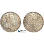 AC606, Straits Settlements, Edward VII, 1 Dollar 1903-B, Bombay (Incuse) Silver, Lightly cleaned AU
