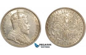 AC606, Straits Settlements, Edward VII, 1 Dollar 1903-B, Bombay (Incuse) Silver, Lightly cleaned AU