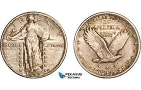 AC610-R, United States, Standing Liberty Quarter (25C) 1927, Philadelphia, Silver, Toned XF-AU