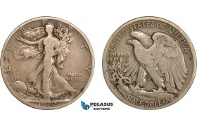 AC611-R, United States, Walking Liberty Half Dollar (50C) 1920-S, San Francisco, Silver, F