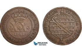 AC612, Brazil, Maria I & Pedro III, 20 Reis 1778, VF