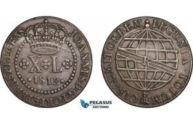 AC613, Brazil, Joao, Prince Regent, 40 Reis 1812-R, Rio de Janeiro, VF-XF