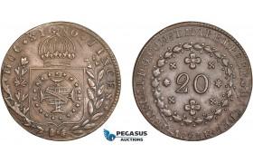 AC614, Brazil, Pedro I, 20 Reis 1825-R, Rio de Janeiro, AU (Small scratch)