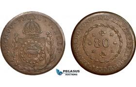 AC615, Brazil, Pedro I, 80 Reis 1830-R, Rio de Janeiro, XF