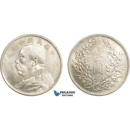 """AC618, China """"Fat man"""" Dollar Yr. 10 (1921) Silver, L&M 79, Cleaned AU"""