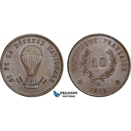 AC621, France, National Defence Government, Pattern 10 Centimes 1870-A, Paris, Cleaned AU