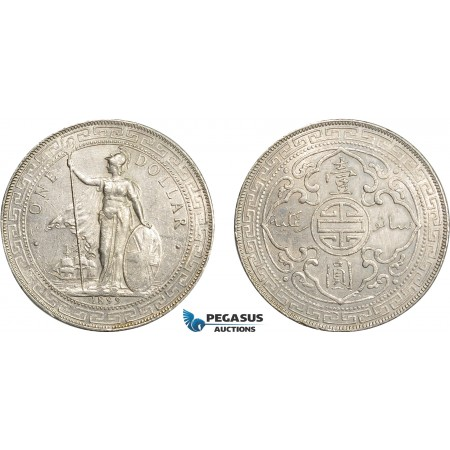 AC622, Great Britain, Trade Dollar 1899-B, Bombay, Silver, Cleaned AU