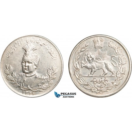 AC624, Iran, Ahmad Shah, 5000 Dinars (5 Kran) AH1344 (1925) Silver, Cleaned AU