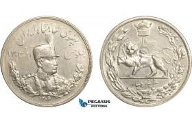 AC625, Iran, Reza Shah, 5000 Dinars (5 Kran) SH1306 (1927) Silver, Cleaned AU