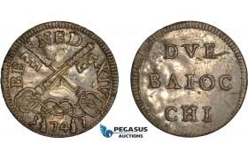 AC628, Italy, Papal, Benedict XIV, 2 Baiocchi 1747, Billon, Lustrous AU