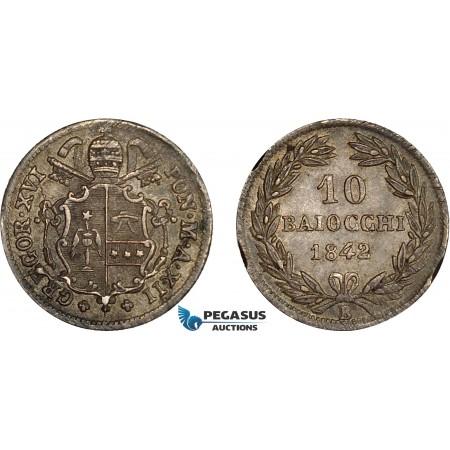 AC630, Italy, Papal, Gregory XVI, 10 Baiocchi 1842-B, Bologna, Silver, Toned AU
