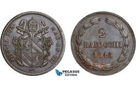 AC631, Italy, Roman Republic, Pius IX, 2 Baiocchi 1848-R, Rome, Cleaned AU
