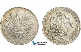 AC632, Mexico, 8 Reales 1891 Mo AM, Mexico City, Silver, Edge bump, AU