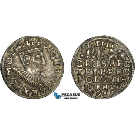 AC633, Poland, Sigismund III, 3 Groschen (Trojak) 1596 I-F/H-R, Poznan (Posen), Silver (2.30g) Dark toning, VF-XF