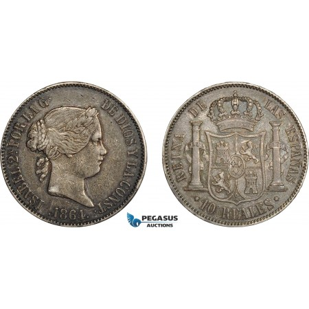AC634, Spain, Isabella II, 10 Reales 1864, Madrid, Silver, Toned VF-XF