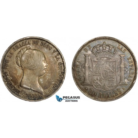 AC635, Spain, Isabella II, 20 Reales 1855, Madrid, Silver, Toned XF (Few edge nicks)