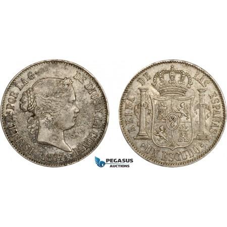 AC636, Spain, Isabella II, 1 Escudo 1867, Madrid, Silver, XF-