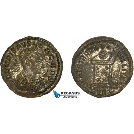 AC639, Roman Empire, Crispus (317-326 AD) Æ Follis (2.47g) Treveri, Altar, Silvering