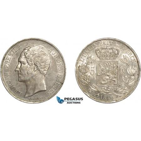 AC640, Belgium, Leopold I, 5 Francs 1849, Brussels, Silver, Lustrous AU