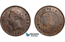 AC641, Cyprus, Victoria, 1/2 Piastre 1882-H, Heaton, Lustrous UNC, Spots/Small scratch