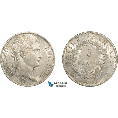 AC642, France, Napoleon, 5 Francs 1809-A, Paris, Silver, Cleaned AU