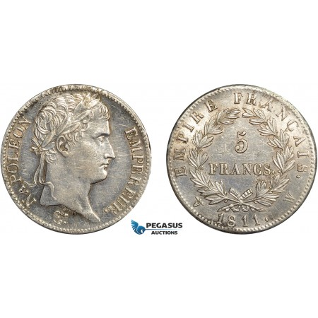 AC643, France, Napoleon, 5 Francs 1811-W, Lille, Silver, Polished AU