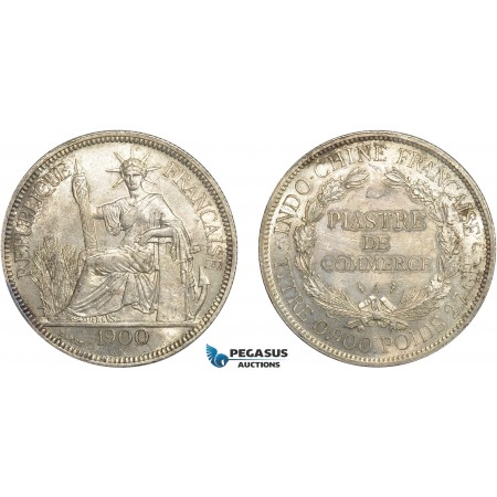 AC646, French Indo-China, Piastre 1900-A, Paris, Silver, Light corrosion/cleaning, AU