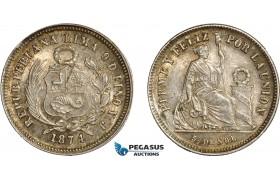 AC648, Peru, 1/5 Sol 1874 YJ, Lima, Silver, Graffiti otherwise toned UNC
