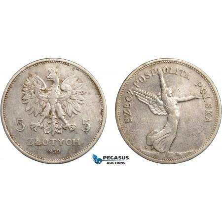 "AC649, Poland, 5 Zlotych 1930 ""Nike"" Silver, Cleaned XF"