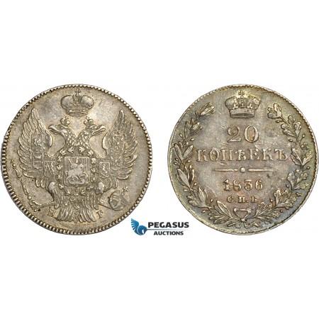 AC650, Russia, Nicholas I, 20 Kopeks 1836 СПБ-НГ, St. Petersburg, Silver, Toned XF