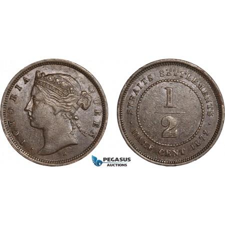 AC652, Straits Settlements, Victoria, 1/2 Cent 1872-H, Heaton, XF-AU