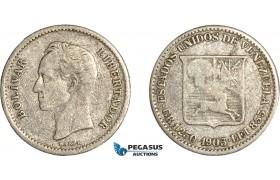 AC653, Venezuela, 1/4 Bolivar 1903, Philadelphia, Silver, F-VF