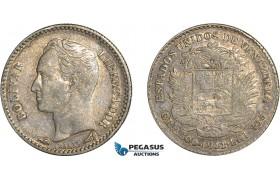 AC654, Venezuela, 1/2 Bolivar 1911, Paris, Silver, Toned VF