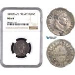 AC656, France, Napoleon, 1 Franc 1812, Utrecht, Silver, NGC MS64, Pop 1/0, Very Rare!