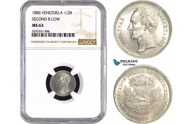 "AC657, Venezuela, 1/2 Bolivar 1886 ""Second 8 low"" Caracas, Silver, NGC MS63, Pop 1/0, Very Rare!"